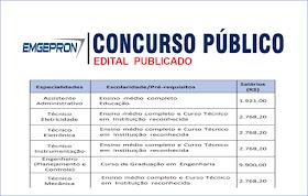 Saiu EDITAL de Concurso Público para níveis médio e Superior. Salários até R$ 9.900,00
