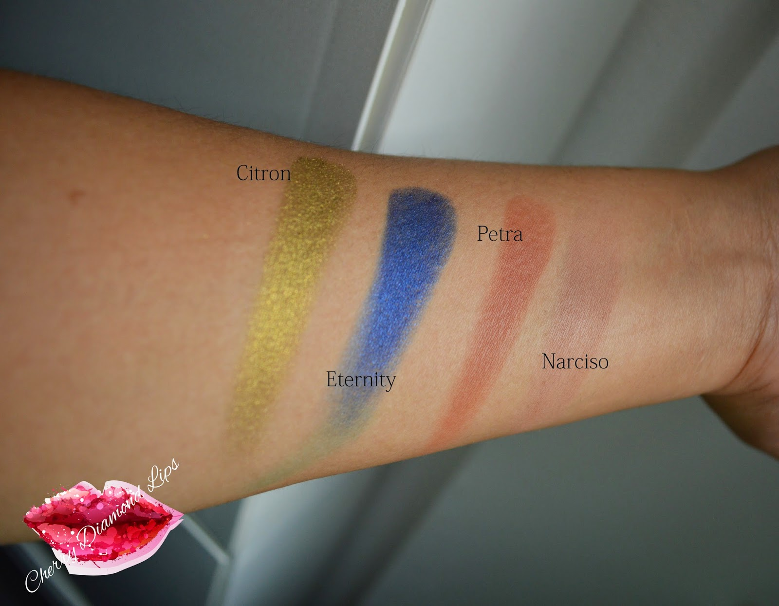 Genesis, Nabla Cosmetics, Citron, Eternity, Petra, Narciso Swatches