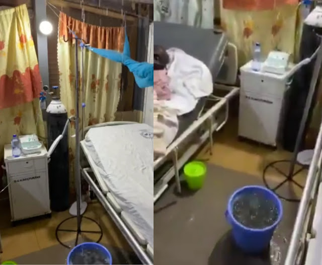 Rain falls into hospital ward from leaking roof while patients are on admission in Ghana(video)