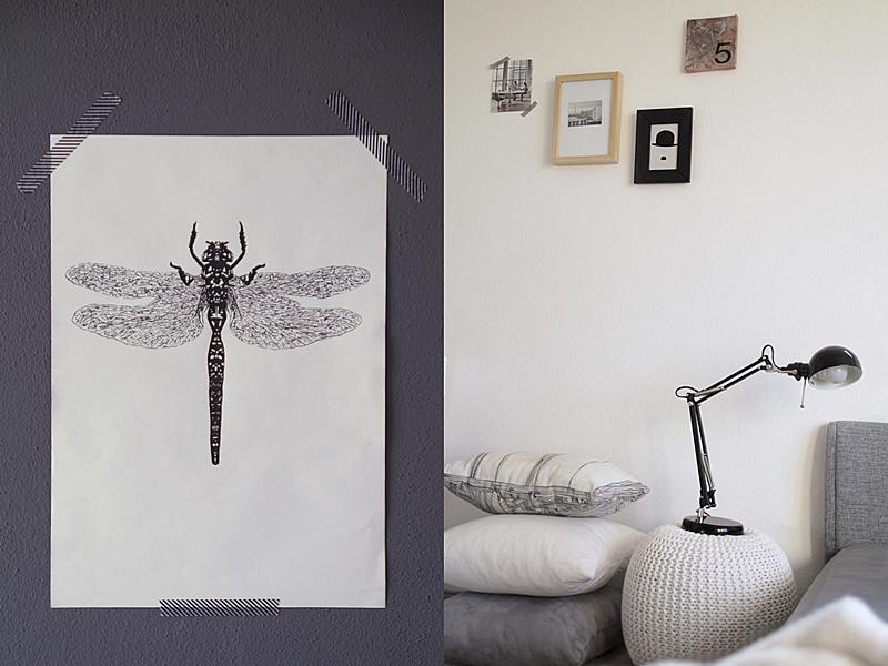 DIY Libellen-Print/ -Poster zeichnen als Wanddeko // DIY dragon-fly print