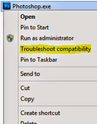 Compatibility Troubleshooting option at the right click