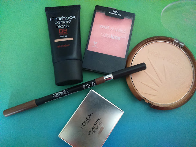 Smashbox Camera Ready BB cream, Wet N Wild Color Icon Bronzer in Reserve Your Cabana, Wet N Wild Color Icon Blush in Pearlescent Pink, Radiant Powder Brow Definer no 4, Loreal Artist Brow Genius Kit