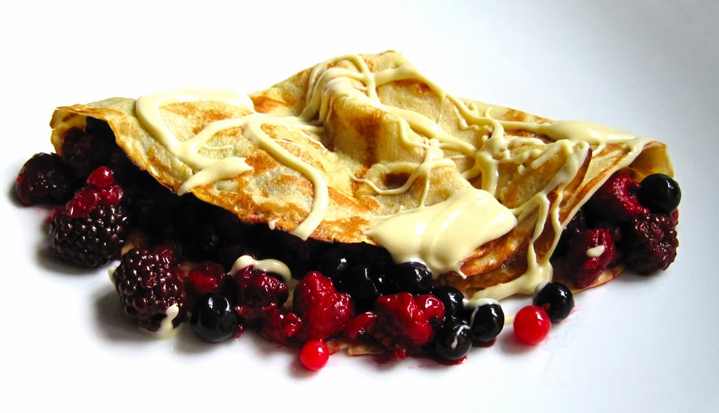 Pancakes with Summer Berries and White Chocolate