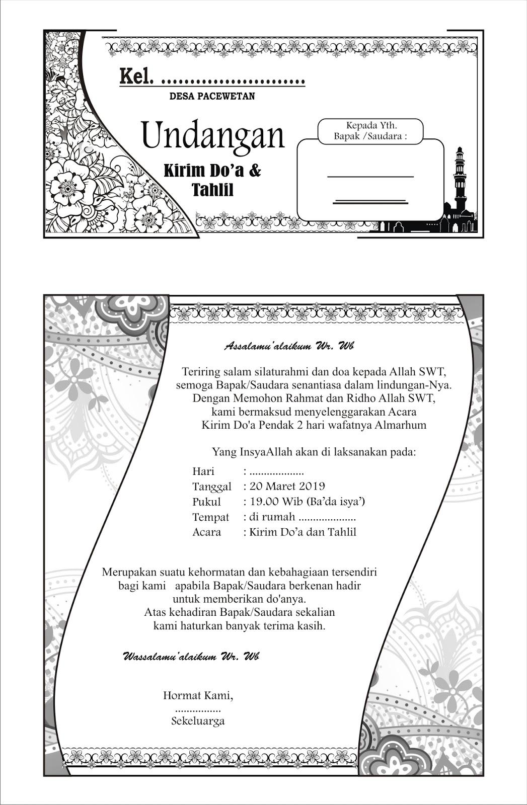 Pesona Alam Desa Pacewetan: Desain Undangan Tahlil 2019