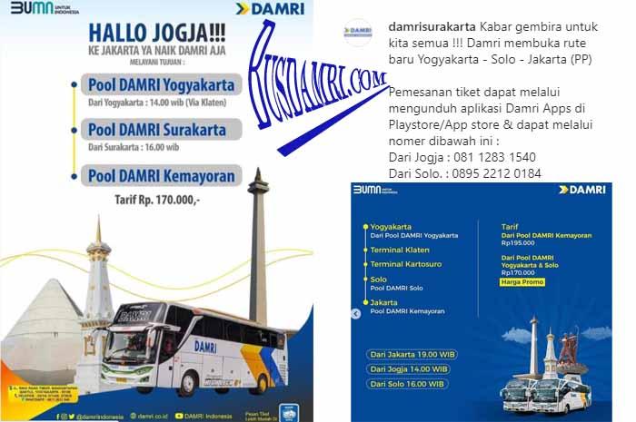 Rute Damri Jogja – Solo – Jakarta, Ini Tarif & Jadwal Busnya