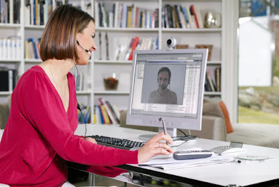 woman computer webcam
