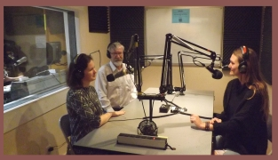 Julia Vergara and Art Hartmut in the CFRO studio with Serena Shipp