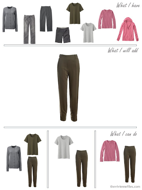 how to add olive pants to a grey and olive travel capsule wardrobe