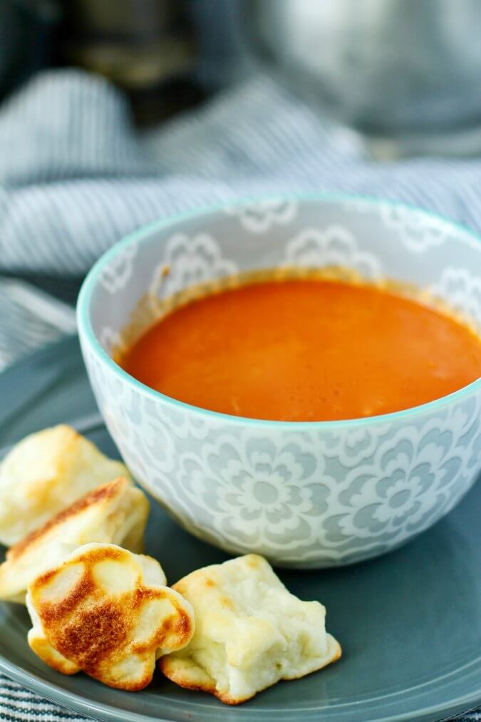 Cheese puffs with soup
