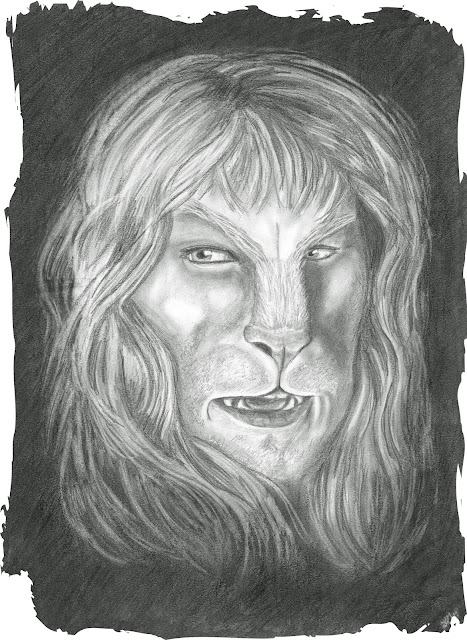 Vincent close up, his mouth open to reveal his fangs, his gaze fixed on something to his far right, black background