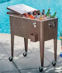 Brown Modern Resin Wicker Rolling Cooler, Wicker Patio Coolers, Wicker Coolers, Outdoor Patio Accessories, Wicker Patio Accessories, Outdoor Furniture, Wicker Outdoor Furniture,