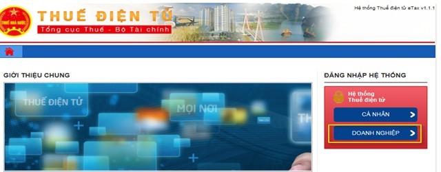 Hình 1 - Màn hình thuế điện tử Việt Nam