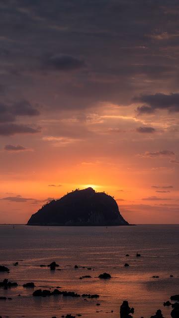 Island, Rock, Sunset, Sea, Landscape