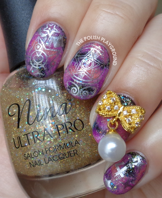 Sailor Moon Galaxy Nails with Gold Bow Stud