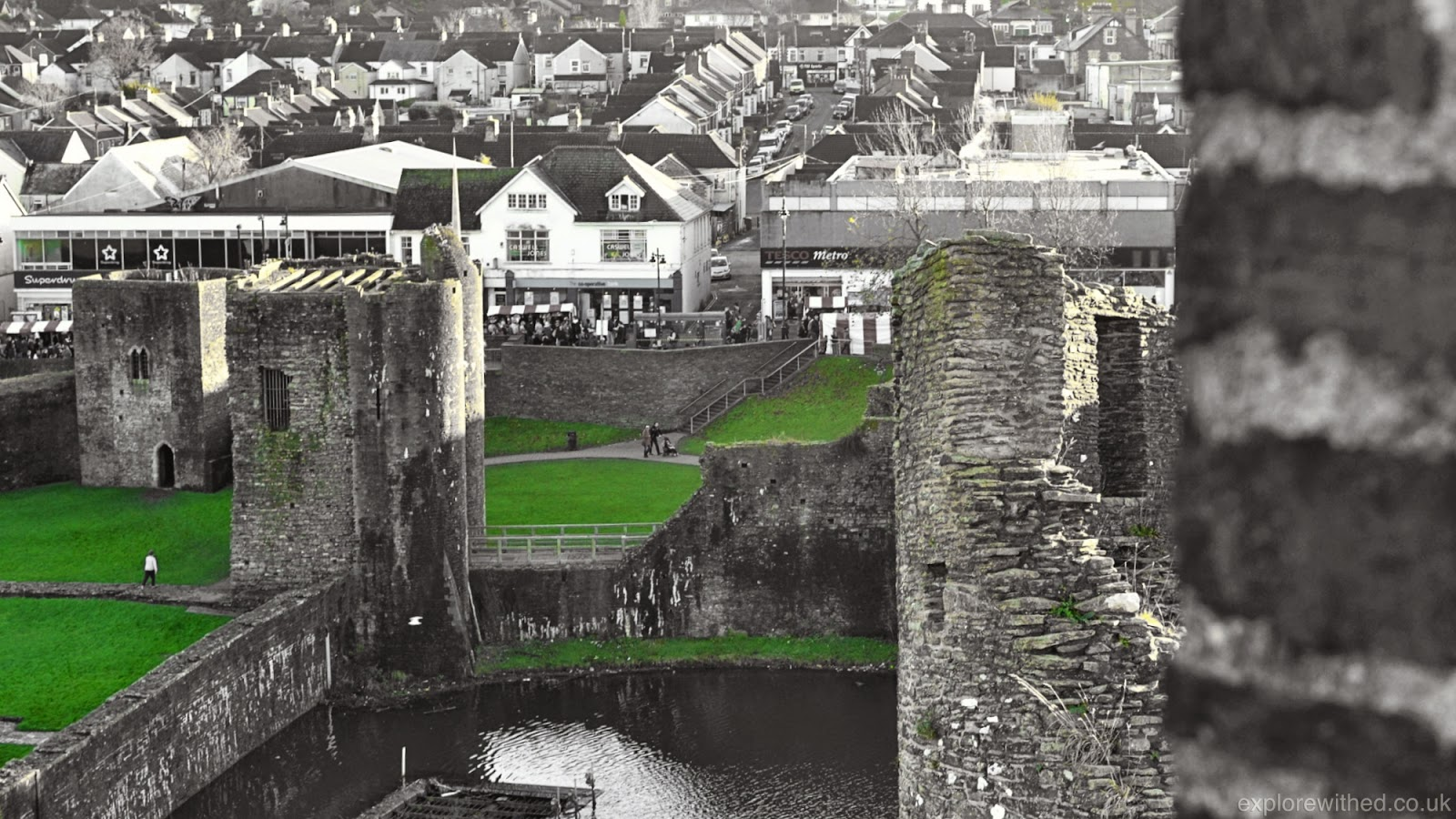 Caerphilly Castle view from the Keep