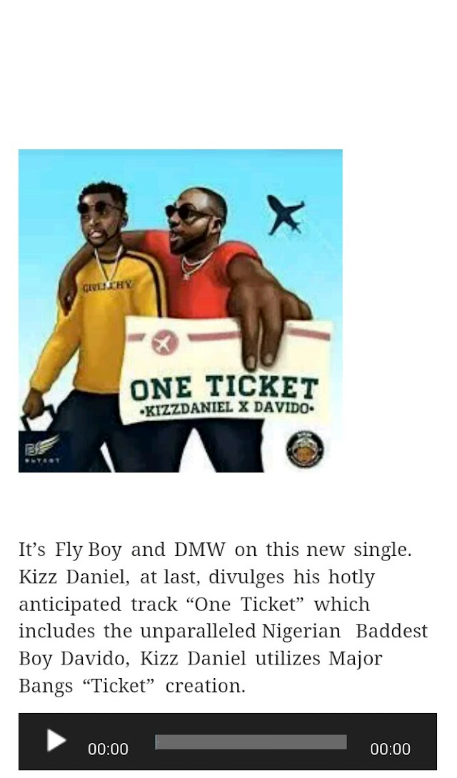 Kizz Daniel Ft Davido – One Ticket [Download Mp3 ]