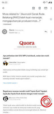 1. Langkah pertama silakan kalian buka email dari Quora.com, selanjutnya silakan gulir sampai di bagian paling bawah