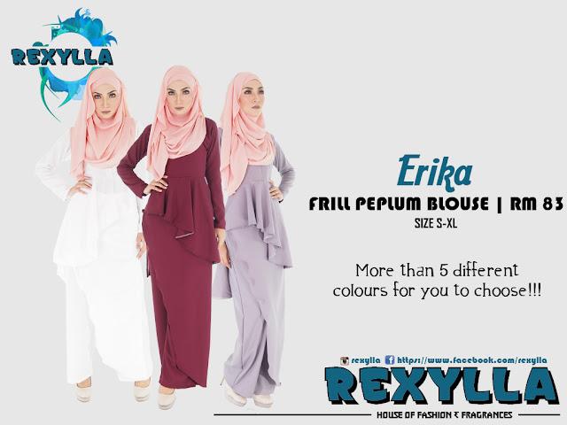 rexylla, peplum, frill, frill peplum, frill peplum blouse, palazzo, erika collection