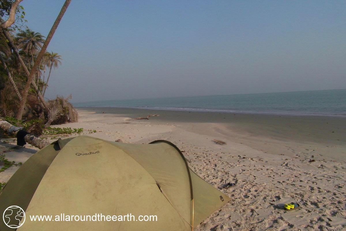 Camping the white sandy beach of Bubaque Island, Bijagos Archipelago, Guinea Bissau, West Africa