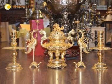 Đỉnh đồng thờ cúng, bộ đỉnh đồng dát vàng phú quý cao 60cm