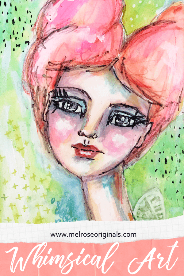 mixed media whimsical art girl with pink hair