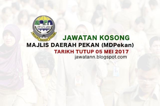 Jawatan Kosong Majlis Daerah Pekan (MDPekan) 05 Mei 2017