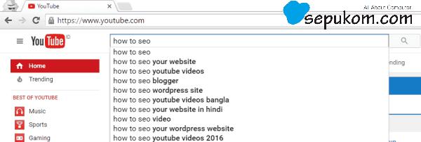 Buka Youtube dan Cari video