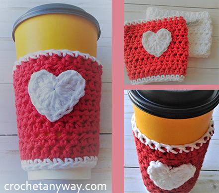crochet Valentine's coffee cup sleeve
