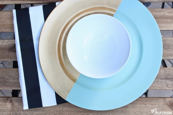 Chargers are decorative plates for dinner parties and a super easy DIY project
