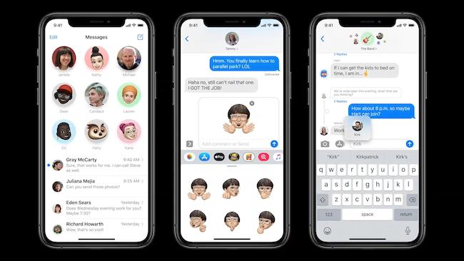 تطبيق رسائل iOS 14 مع المحادثات المثبتة وميزات المجموعة الجديدة والرسائل المضمنة