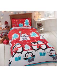 Festive Christmas Singalong Duvet Set featuring Polar bear and penguin