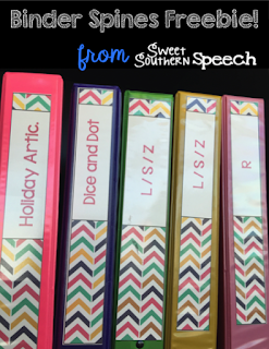 FREE binder spines for easy organization of your speech therapy room!