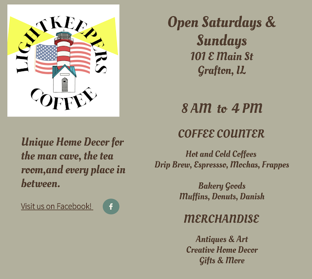 informational page of Grafton Illinois coffee antiques shop Lightkeepers Coffee 101 E Main St Sears Vallonia