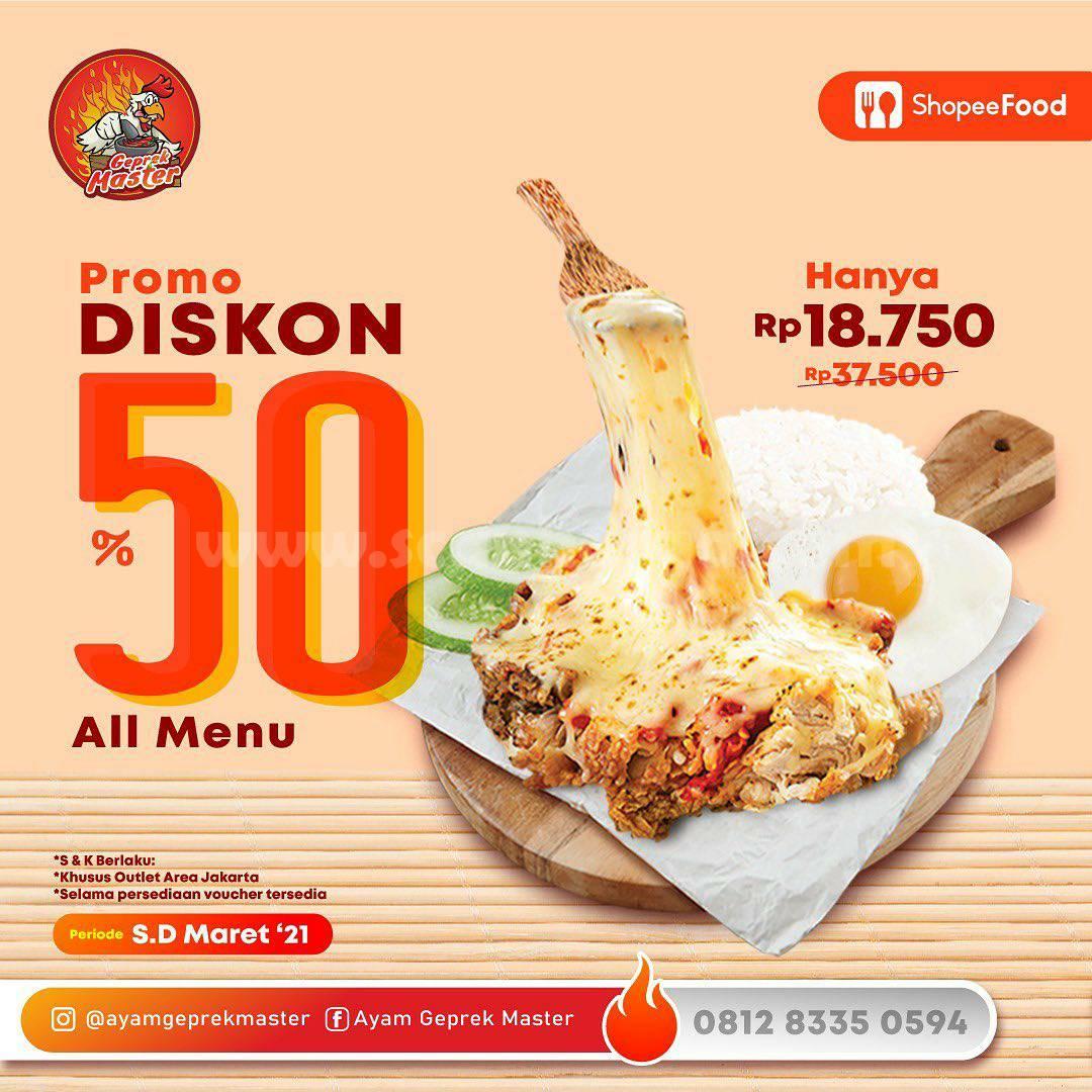 Ayam Geprek Master Promo Diskon 50% via ShopeeFood