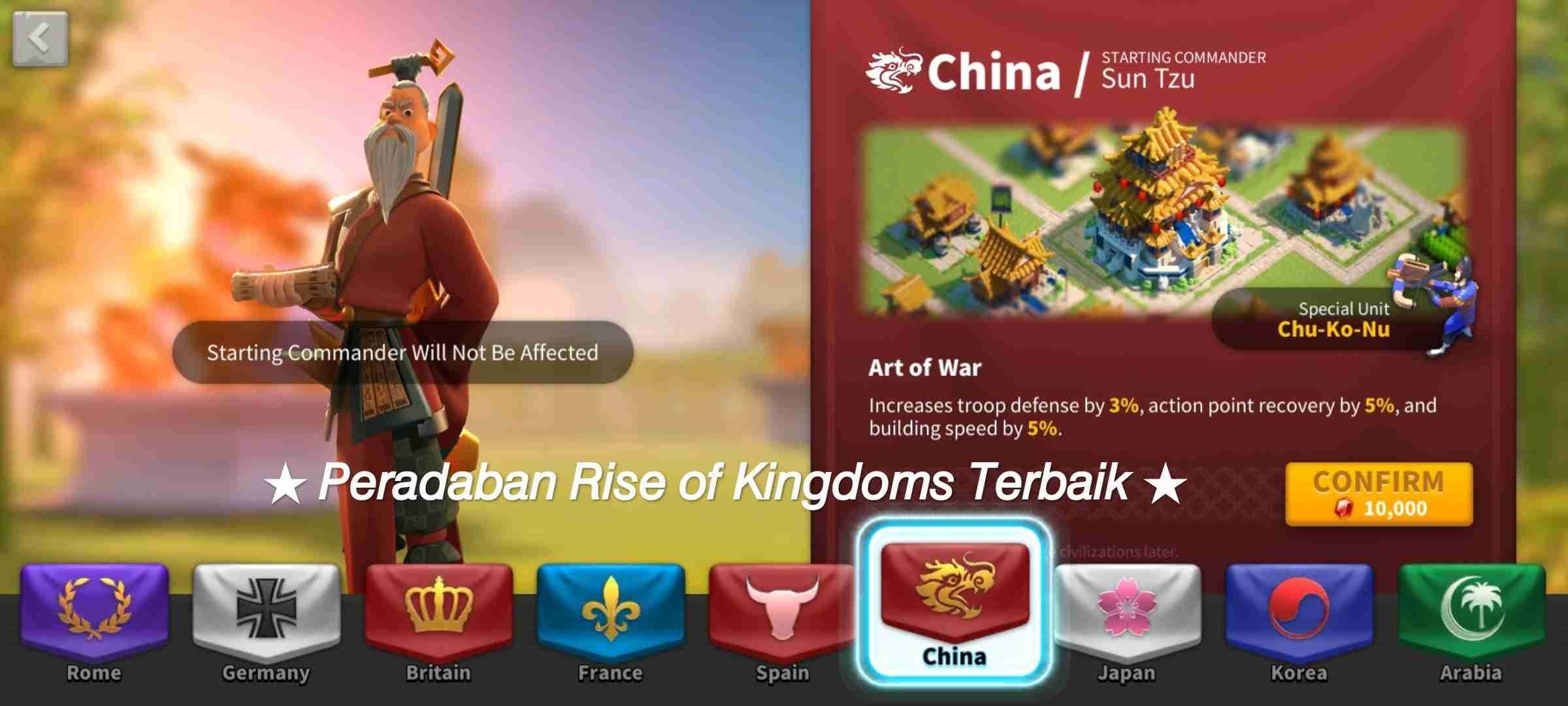 peradaban terbaik rise of kingdoms