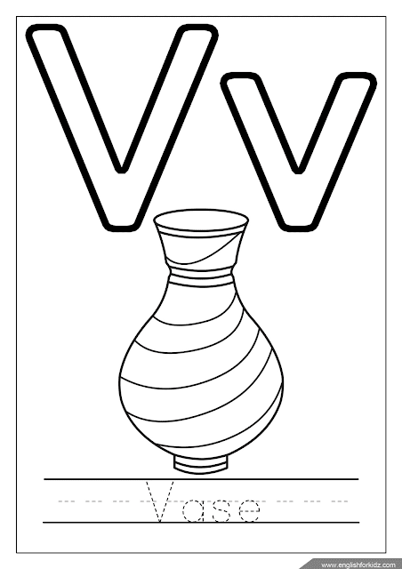 Printable English alphabet coloring page - letter v coloring