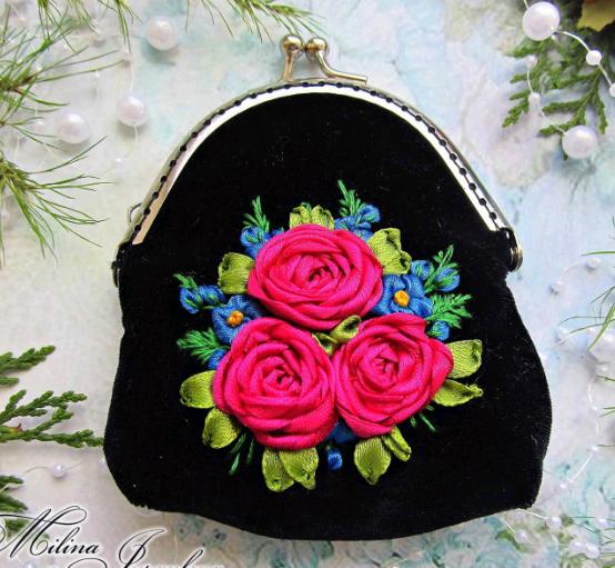 Hermosos Monederos Con Flores Bordadas De Liston Paso A Paso Haz