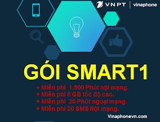 Nhận 31GB, 1500 phút nội mạng, 20 phút ngoại mạng với gói cước SMART1 (SM1) VinaPhone