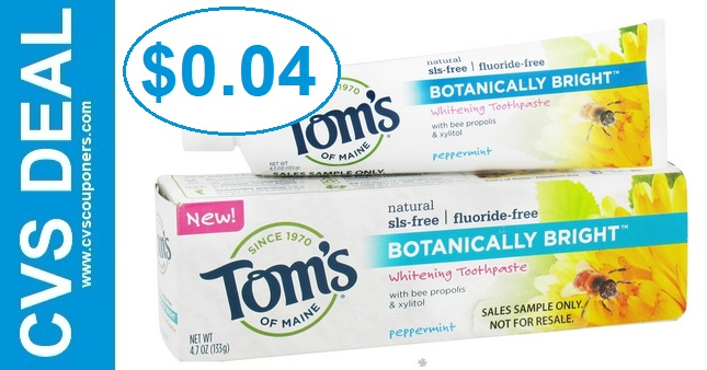 Tom's of Maine Toothpaste CVS Deal $0.04 - 8/18-8/24