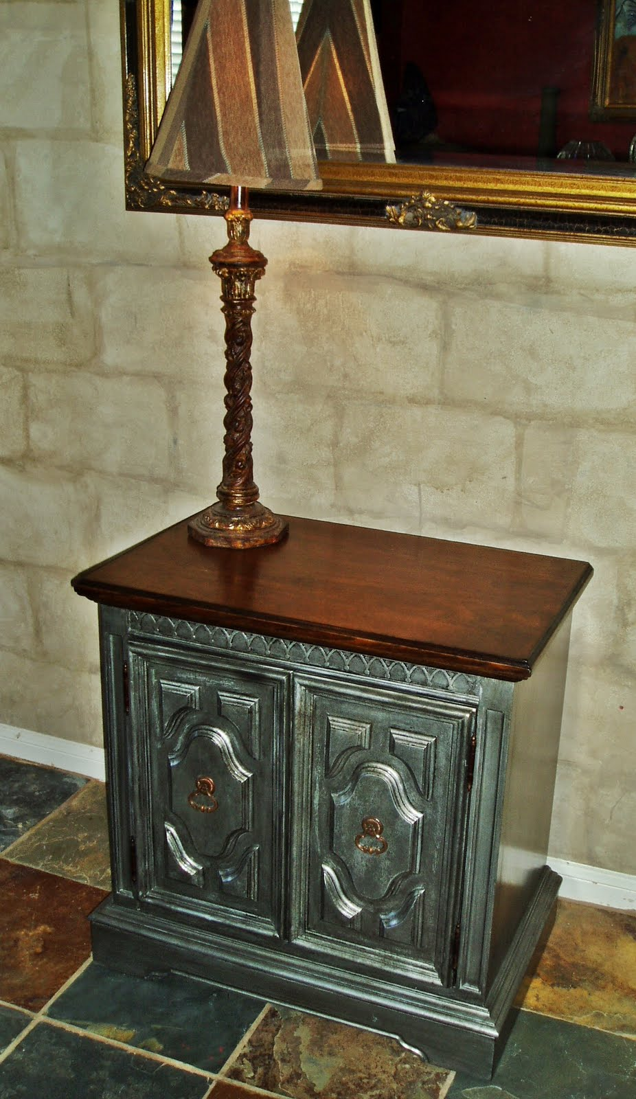 Faux Painting  Furniture ANTIQUED PEWTER SIDE  ACCENT TABLE