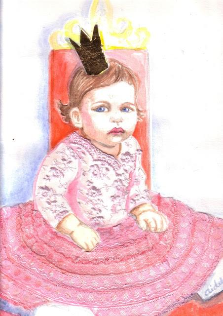 väike printsess roosa pitskleit akvarell joonistus