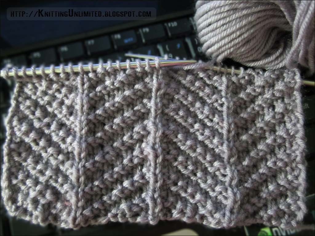 Knit Purl Combinations Create Herringbone Pattern