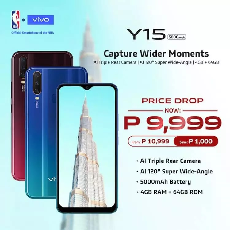 Vivo Y15 Drops Price to only Php9,999!