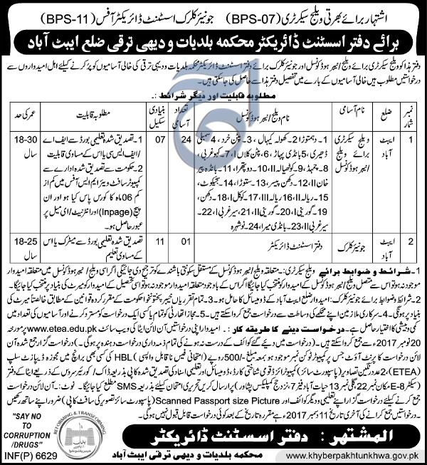 Jobs in  Local Government and Rural Development Department Abbottabad 24 November 2017