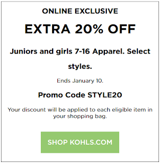 Kohls coupon 20% OFF Juniors' and Girls' Apparel