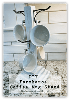 Easy DIY Farmhouse Coffee Mug Stand, One of my favorites this week at Encouraging Hearts and Home, link-up your creations, right here at Scratch Made Food! & DIY Homemade Household!