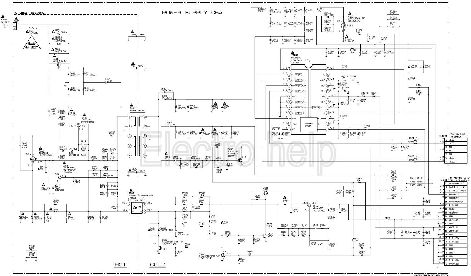 EMERSON LE220EM3  22ME402VF7 MAGNAVOX LED LCD TV POWER