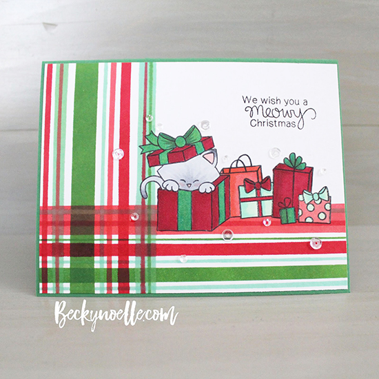 Inky Paws Challenge #37 | Plaid Christmas card with Cat by Becky Noelle | Newton's Christmas Cuddles Stamp set by Newton's Nook Designs #newtonsnook
