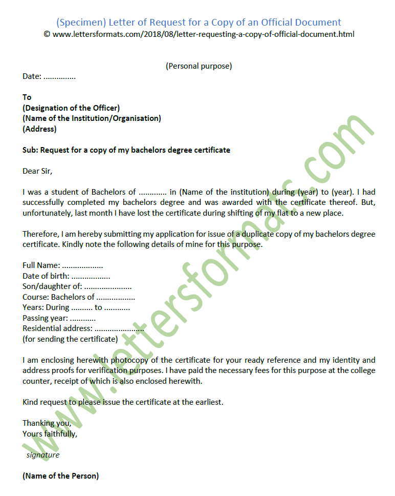 Sample Letter Of Request For A Copy An Official Document