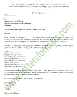 sample letter of request for a copy of an official document